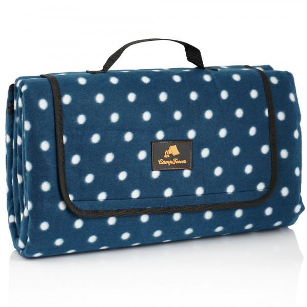 CampFeuer Picknickdecke 200x200 cm | blau | Muster: Punkte