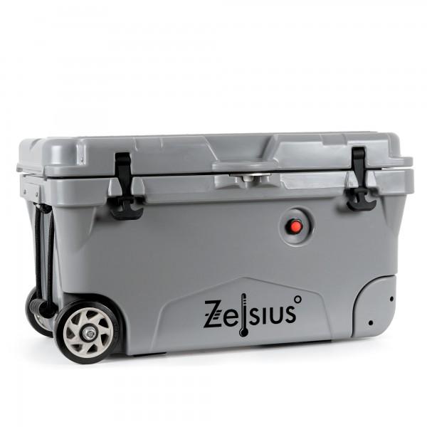 Zelsius Kühlbox grau 50 Liter mit Räder | Cooling Box für Auto Camping