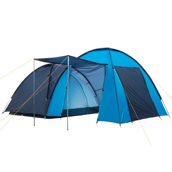 CampFeuer Campingzelt blau, 4 Personen Doppel Kuppelzelt, 3000 mm Zelt