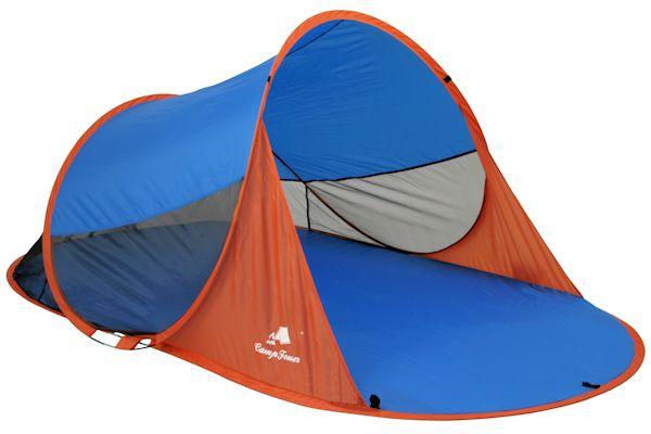 CampFeuer - PopUp Strandmuschel, 2 Pers., blau-orange, UV50+