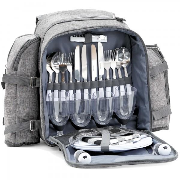 CampFeuer Picknickrucksack für 4 Personen | Picknickset 32-teilig | grau