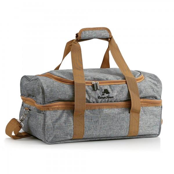 CampFeuer Picknicktasche für 4 Personen | Picknickset 20-teilig | grau
